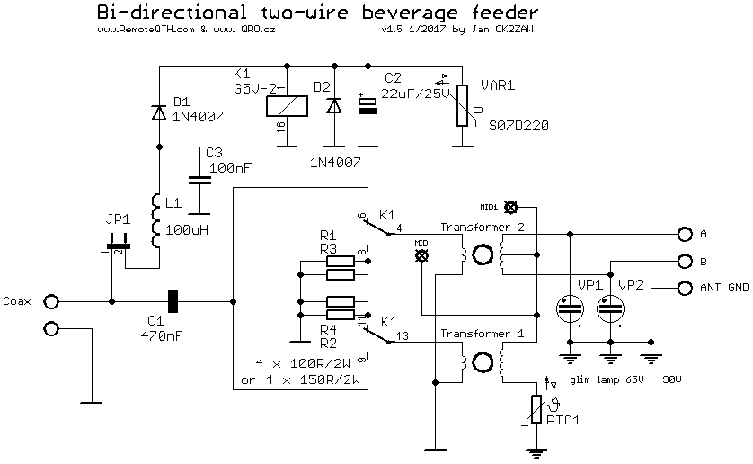 Bi-directional Two wire Beverage
